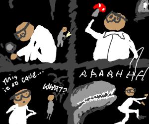 scientist investigating cave