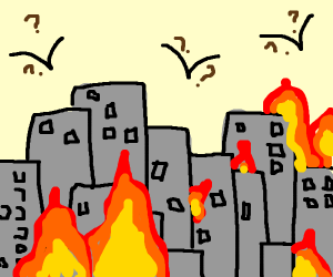 bird confused about city on fire