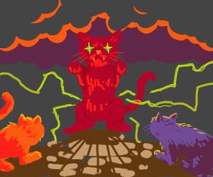 Evil Red Cat Rules Over Orange And Purple Cat