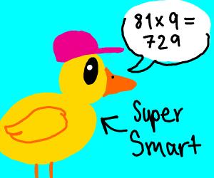 Super Smart Duck wearing pink cap does math