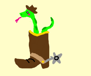 Cool snake in a cowboy boot