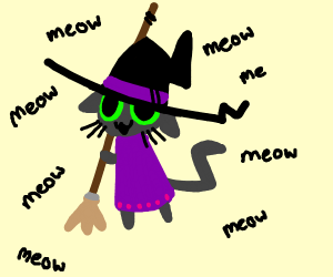 Cat witch goes meow meow meow meow