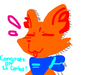 Congratulations to an orange furry who hit 2k