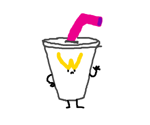 angry soda cup with arms and pink straw