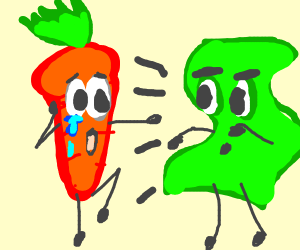Carrot bullied by dollar bill