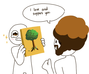 Showing Bob Ross a Tree Painting