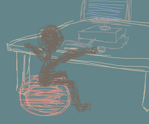 Child sits on exercise ball at computer desk.