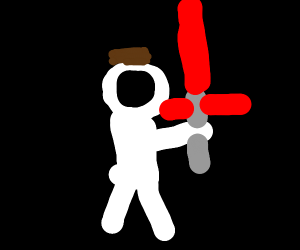 an astronaut with a light saber