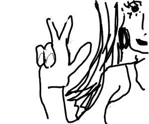 Girl giving a peace sign