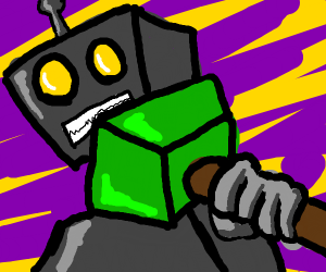 Robot with green hammer