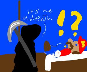 Mario on his death bed w/ grim reaper