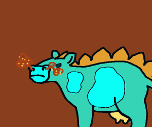 Stegasuoras cow, blowing cyan smoke out its n