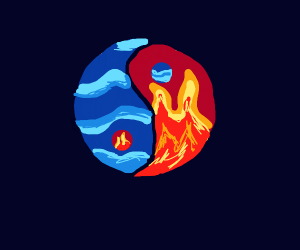 yin and yang but fire and water