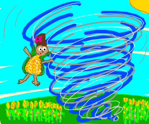 A tornado picking up a lady in a corn outfit