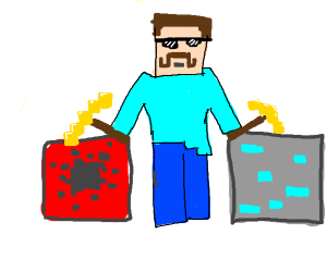 Mining Redstones And Diamonds In Minecraft