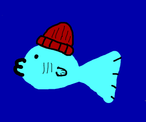 fish with a beanie