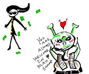 Cool rich man flirting with a blushing shrek