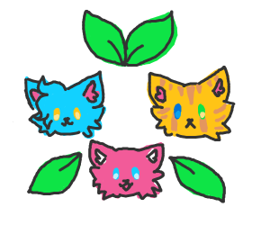 Blue, pink and orange cats