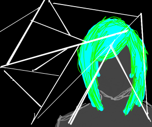 Shattered face with cyan and green hair