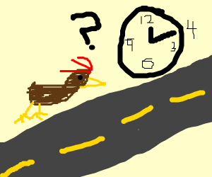 Why did the chicken cross the road at 12:20?