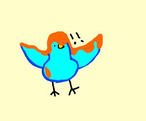Bird covered in orange sauce