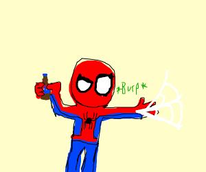 drunk spider-man shooting webs