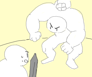 dood with 3 biceps attacks guy with sword