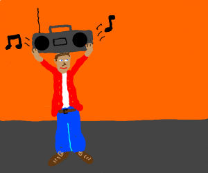 Guy with a boombox on his head