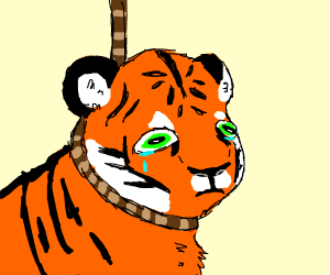 tiger about to noose himself
