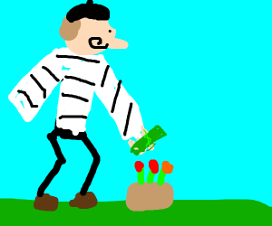 French person putting money in a flowerpot