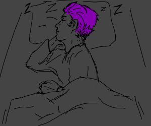 Purple haired guy sleeping.