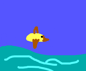 Duck flying over a lake