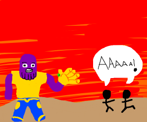 People fleeing from Thanos