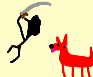Man attacking red dog