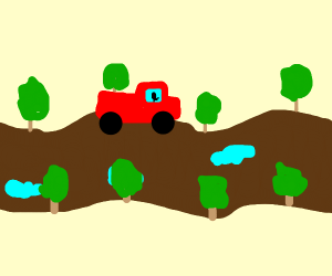 Red truck on country road