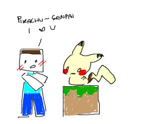 Minecraft Steve loves Pikachu