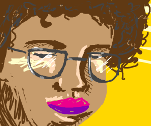 Beautiful girl with glasses and an afro