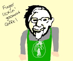 kernel sanders at working at Starbucks