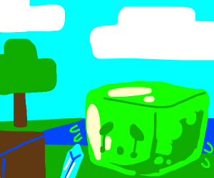 Minecraft slime mob crying profusely
