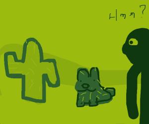 Dark green (cactus?) Bunny