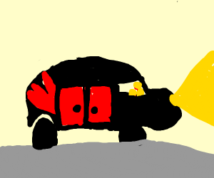 black car with yellow buttons and red things