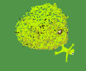 Kermit falls out of tree (w/ nest & two eggs)