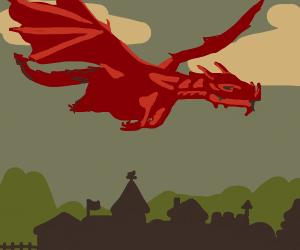 Giant dragon flies over a village