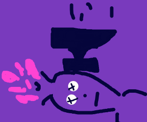 crushing the brain of a purple guy