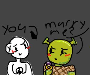 Realistic Shrek proposes to you