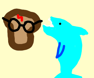 Toast w/ glasses fights shark