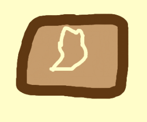 A piece of bread with a foot in it