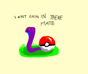 a purple snake next to a pokeball