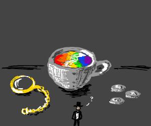 Fancy man with big cup of rainbow tea