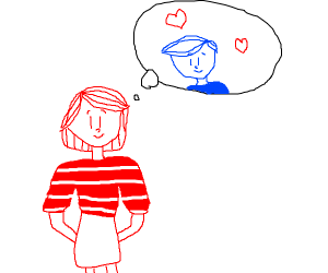 red girl thinking about blue guy